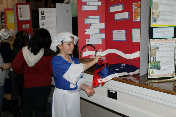 Fourth grade students immerse themselves in Colonial times portraying figures.