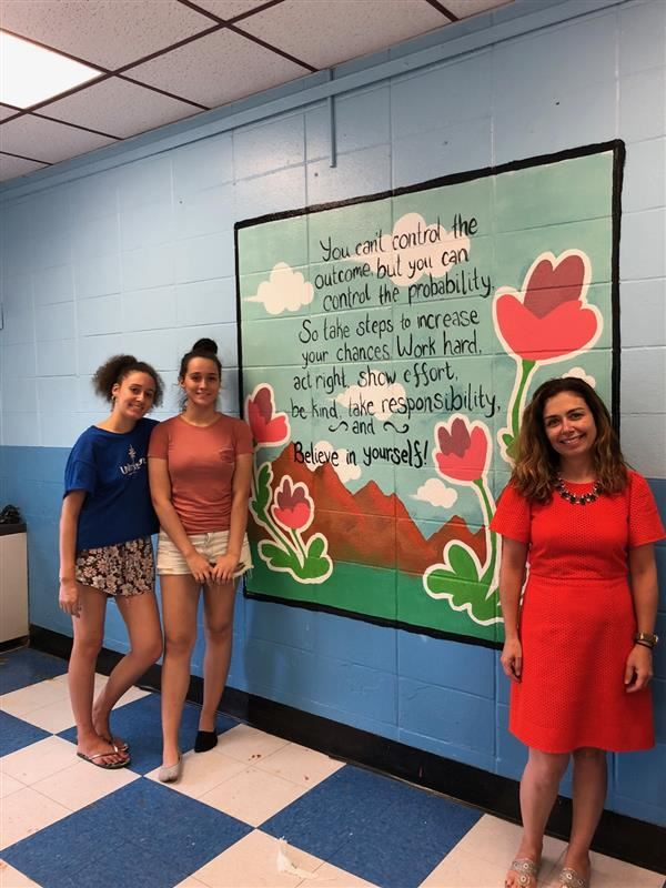 teacher and students with mural