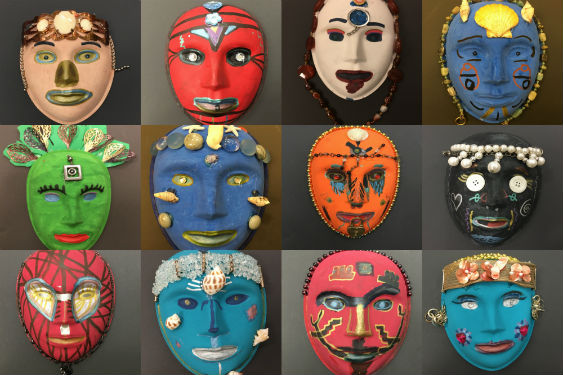 collage of masks