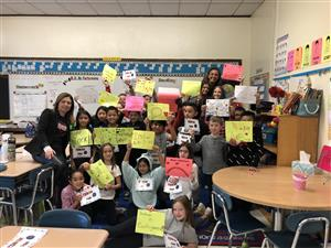 Students with kindness posters