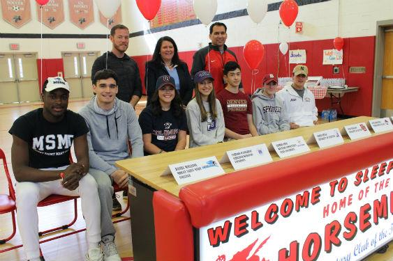 College bound athletes are recognized in a special ceremony.