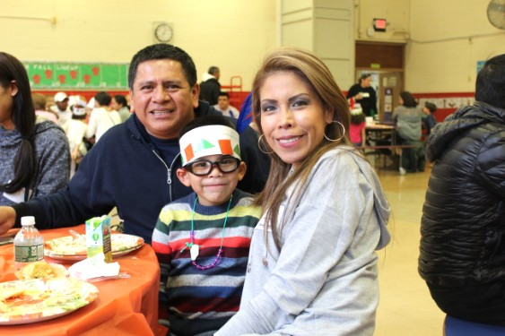 Families celebrate a Thanksgiving  feast at John Paulding School.