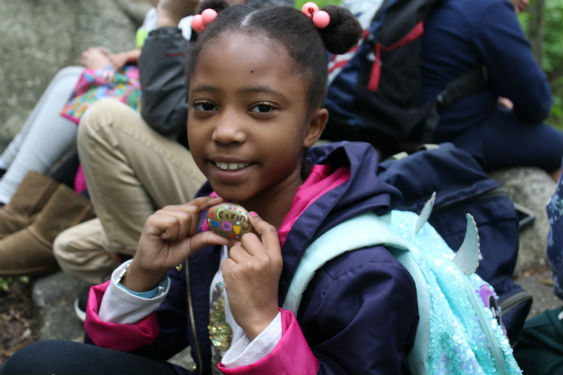 Second-graders from Morse walked through The Peabody Preserve placing kindness rocks on trails.
