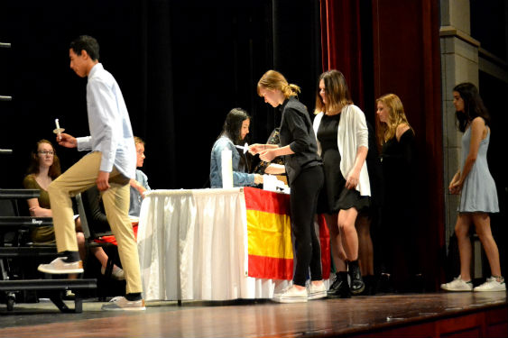 SHHS students are inducted into the Foreign Language Honor Society.