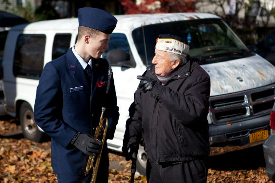 Cameron Allan at Veterans Day service in Sleepy Hollow.
