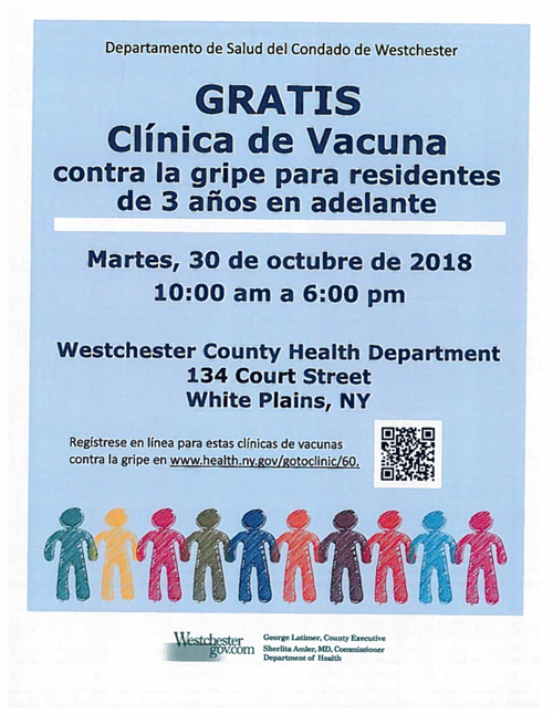 Westchester Department of Health Free Flu Vaccine Spanish